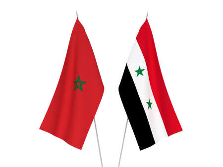 National fabric flags of Morocco and Syria isolated on white background. 3d rendering illustration.
