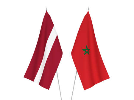 National fabric flags of Latvia and Morocco isolated on white background. 3d rendering illustration.