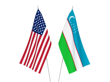National fabric flags of America and Uzbekistan isolated on white background. 3d rendering illustration.
