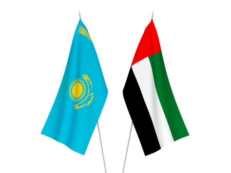 National fabric flags of Kazakhstan and United Arab Emirates isolated on white background. 3d rendering illustration.
