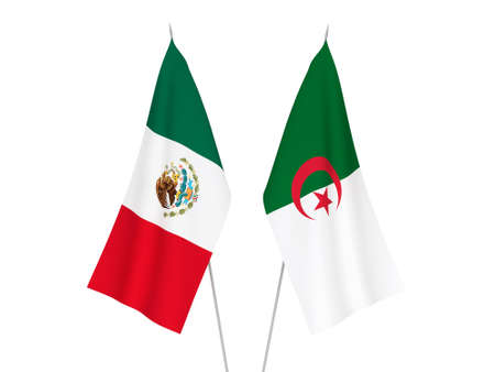 National fabric flags of Algeria and Mexico isolated on white background. 3d rendering illustration.
