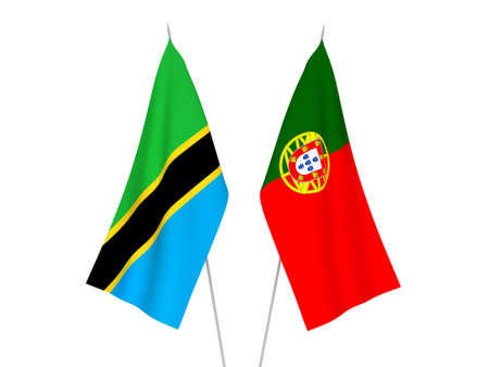 National fabric flags of Tanzania and Portugal isolated on white background. 3d rendering illustration.