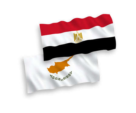 National vector fabric wave flags of Cyprus and Egypt isolated on white background. 1 to 2 proportion.