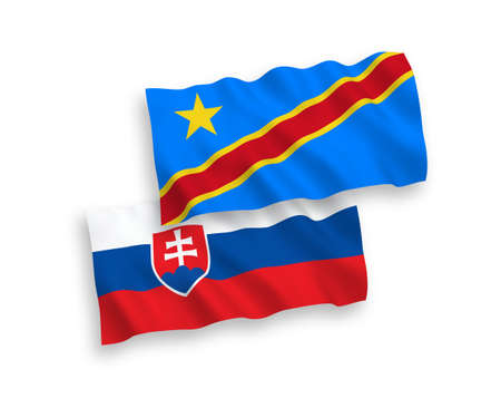 National vector fabric wave flags of Slovakia and Democratic Republic of the Congo isolated on white background. 1 to 2 proportion.