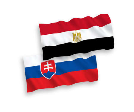 National vector fabric wave flags of Slovakia and Egypt isolated on white background. 1 to 2 proportion. Illusztráció
