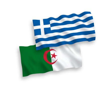 National vector fabric wave flags of Greece and Algeria isolated on white background. 1 to 2 proportion.