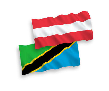 National vector fabric wave flags of Austria and Tanzania isolated on white background. 1 to 2 proportion.