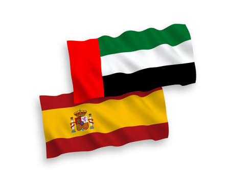 National vector fabric wave flags of United Arab Emirates and Spain isolated on white background. 1 to 2 proportion. 일러스트