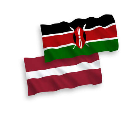 National vector fabric wave flags of Latvia and Kenya isolated on white background. 1 to 2 proportion. Vectores