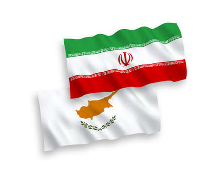 National vector fabric wave flags of Cyprus and Iran isolated on white background. 1 to 2 proportion. 일러스트