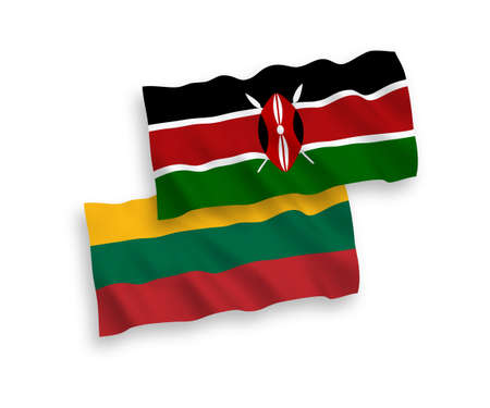 National vector fabric wave flags of Lithuania and Kenya isolated on white background. 1 to 2 proportion.