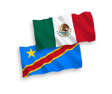 National vector fabric wave flags of Mexico and Democratic Republic of the Congo isolated on white background. 1 to 2 proportion. Illustration