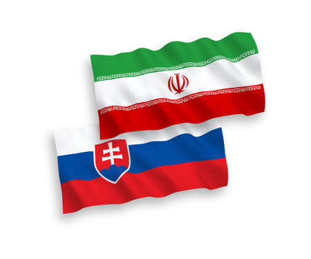 National vector fabric wave flags of Slovakia and Iran isolated on white background. 1 to 2 proportion. Illusztráció