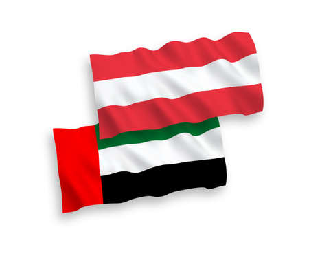 National vector fabric wave flags of Austria and United Arab Emirates isolated on white background. 1 to 2 proportion. Иллюстрация