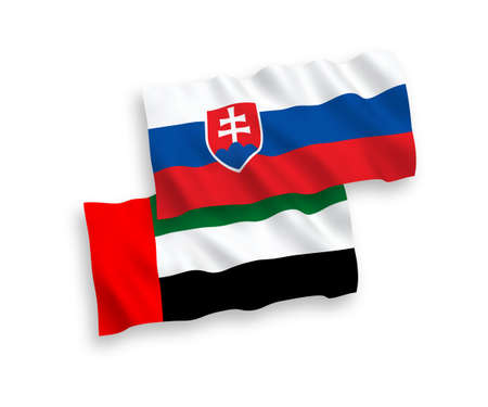 National vector fabric wave flags of Slovakia and United Arab Emirates isolated on white background. 1 to 2 proportion.