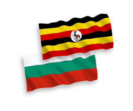 National vector fabric wave flags of Bulgaria and Uganda isolated on white background. 1 to 2 proportion. 向量圖像
