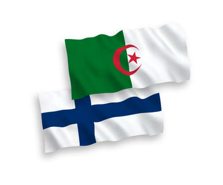 National vector fabric wave flags of Finland and Algeria isolated on white background. 1 to 2 proportion.