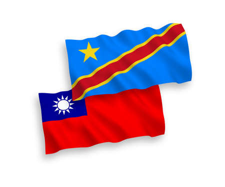 National vector fabric wave flags of Democratic Republic of the Congo and Taiwan isolated on white background. 1 to 2 proportion.