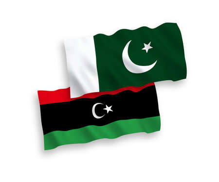 National vector fabric wave flags of Pakistan and Libya isolated on white background. 1 to 2 proportion.