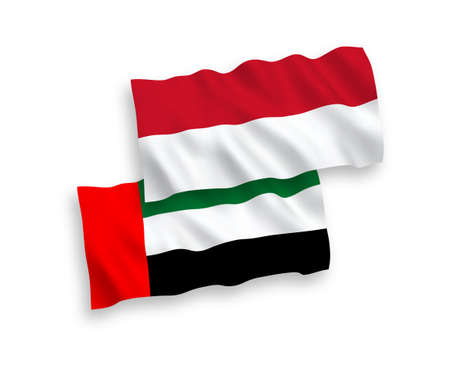National vector fabric wave flags of Indonesia and United Arab Emirates isolated on white background. 1 to 2 proportion.