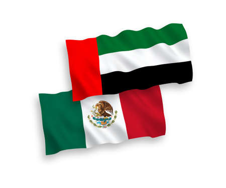 National vector fabric wave flags of Mexico and United Arab Emirates isolated on white background. 1 to 2 proportion.