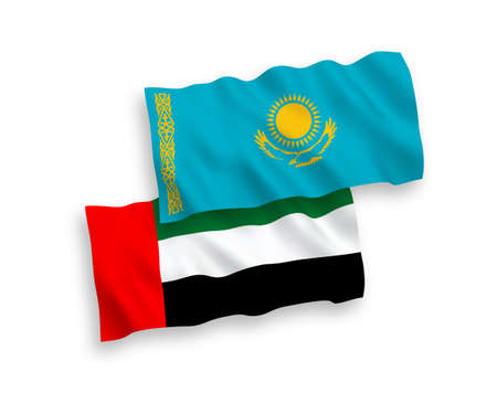 National vector fabric wave flags of Kazakhstan and United Arab Emirates isolated on white background. 1 to 2 proportion. 向量圖像