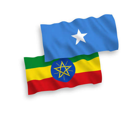 National vector fabric wave flags of Ethiopia and Somalia isolated on white background. 1 to 2 proportion.