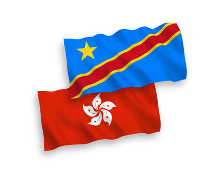 National vector fabric wave flags of Democratic Republic of the Congo and Hong Kong isolated on white background. 1 to 2 proportion. Illustration