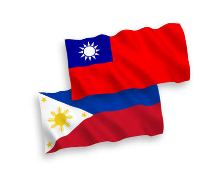 National vector fabric wave flags of Philippines and Taiwan isolated on white background. 1 to 2 proportion.