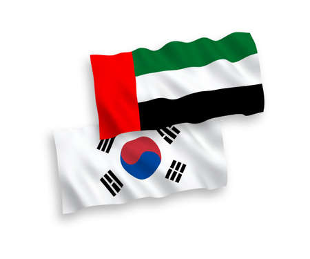 National vector fabric wave flags of South Korea and United Arab Emirates isolated on white background. 1 to 2 proportion. 向量圖像