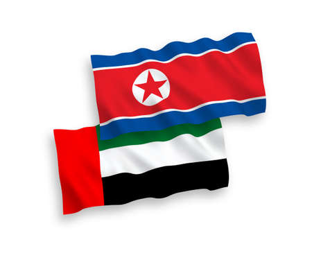 National vector fabric wave flags of North Korea and United Arab Emirates isolated on white background. 1 to 2 proportion.