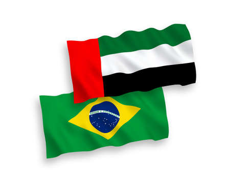 National vector fabric wave flags of Brazil and United Arab Emirates isolated on white background. 1 to 2 proportion.