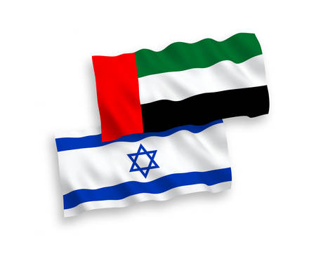 National vector fabric wave flags of United Arab Emirates and Israel isolated on white background. 1 to 2 proportion. 向量圖像