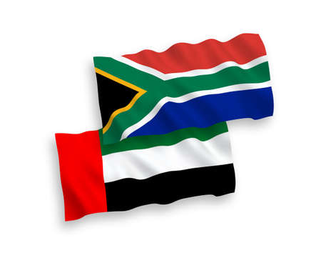 National vector fabric wave flags of United Arab Emirates and Republic of South Africa isolated on white background. 1 to 2 proportion.