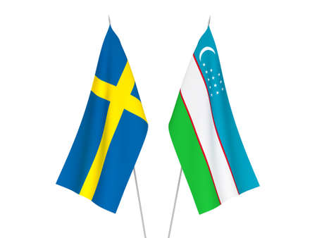 National fabric flags of Sweden and Uzbekistan isolated on white background. 3d rendering illustration. Stockfoto