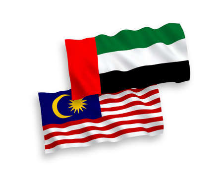 National vector fabric wave flags of United Arab Emirates and Malaysia isolated on white background. 1 to 2 proportion. 向量圖像