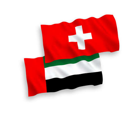 National vector fabric wave flags of United Arab Emirates and Switzerland isolated on white background. 1 to 2 proportion.