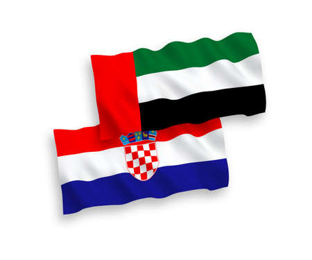 National vector fabric wave flags of United Arab Emirates and Croatia isolated on white background. 1 to 2 proportion.