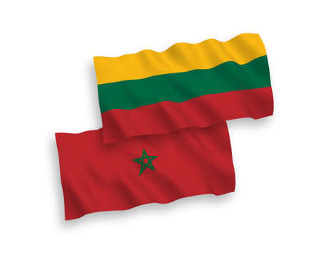National vector fabric wave flags of Lithuania and Morocco isolated on white background. 1 to 2 proportion.