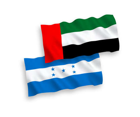National vector fabric wave flags of United Arab Emirates and Honduras isolated on white background. 1 to 2 proportion.