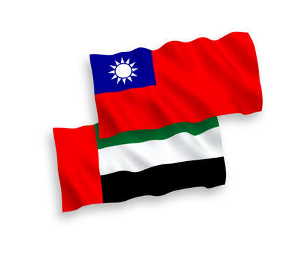 National vector fabric wave flags of United Arab Emirates and Taiwan isolated on white background. 1 to 2 proportion.