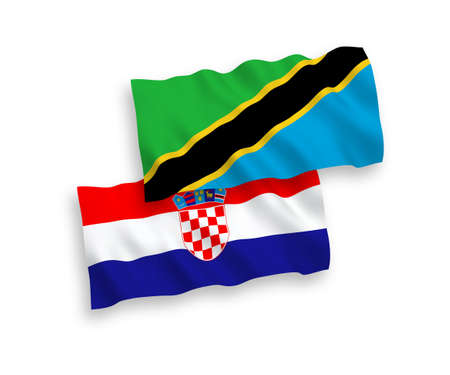 National vector fabric wave flags of Tanzania and Croatia isolated on white background. 1 to 2 proportion.