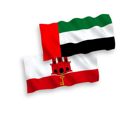 National vector fabric wave flags of United Arab Emirates and Gibraltar isolated on white background. 1 to 2 proportion. 向量圖像