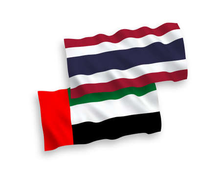 National vector fabric wave flags of United Arab Emirates and Thailand isolated on white background. 1 to 2 proportion.