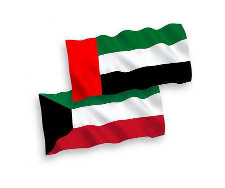 National vector fabric wave flags of United Arab Emirates and Kuwait isolated on white background. 1 to 2 proportion.
