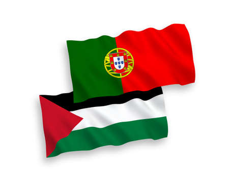 National vector fabric wave flags of Portugal and Palestine isolated on white background. 1 to 2 proportion.