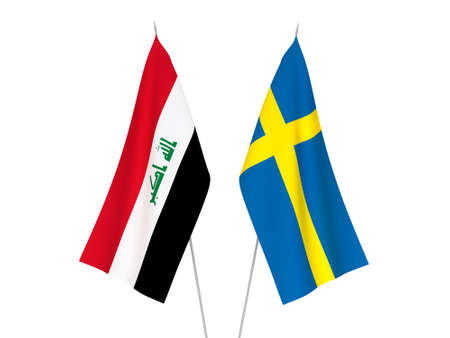 National fabric flags of Sweden and Iraq isolated on white background. 3d rendering illustration.