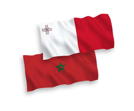 National vector fabric wave flags of Malta and Morocco isolated on white background. 1 to 2 proportion.