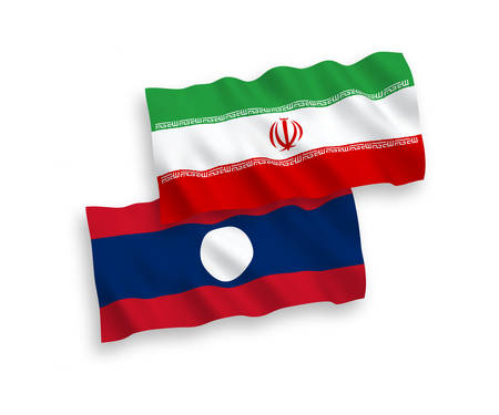 National vector fabric wave flags of Iran and Laos isolated on white background. 1 to 2 proportion.