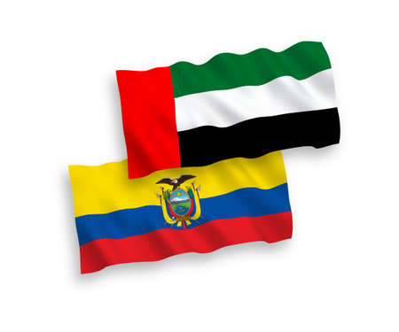 National vector fabric wave flags of United Arab Emirates and Ecuador isolated on white background. 1 to 2 proportion.